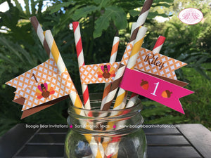 Little Pink Turkey Party Pennant Straws Birthday Paper Beverage Drink Fall Girl 1st 2nd 3rd 4th 5th 6th Boogie Bear Invitations Riley Theme