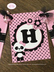 Pink Panda Bear Happy Birthday Banner Party White Black Polka Dot Girl 1st 2nd 3rd 4th 5th 6th 7th Boogie Bear Invitations Robina Theme
