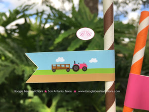 Pink Farm Birthday Party Pennant Straws Paper Beverage Drink Pumpkin Barn Girl 1st 2nd 3rd 4th 5th Boogie Bear Invitations Susannah Theme
