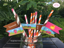 Load image into Gallery viewer, Pink Farm Birthday Party Pennant Straws Paper Beverage Drink Pumpkin Barn Girl 1st 2nd 3rd 4th 5th Boogie Bear Invitations Susannah Theme