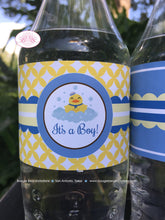 Load image into Gallery viewer, Yellow Rubber Duck Baby Shower Bottle Wraps Wrappers Cover Label Blue Little Duckie Boy Pool Bubbles 1st Boogie Bear Invitations Terry Theme