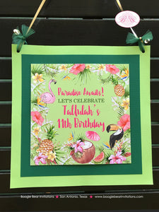 Tropical Paradise Party Door Banner Birthday Flamingo Toucan Coconut Pineapple Pink Gold Green 11th Boogie Bear Invitations Tallulah Theme