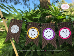 Disco Dance Party Pennant Cake Banner Topper Birthday Girl Boy 1st 2nd 3rd 4th 5th 6th 7th 8th 9th 10th Boogie Bear Invitations Donna Theme