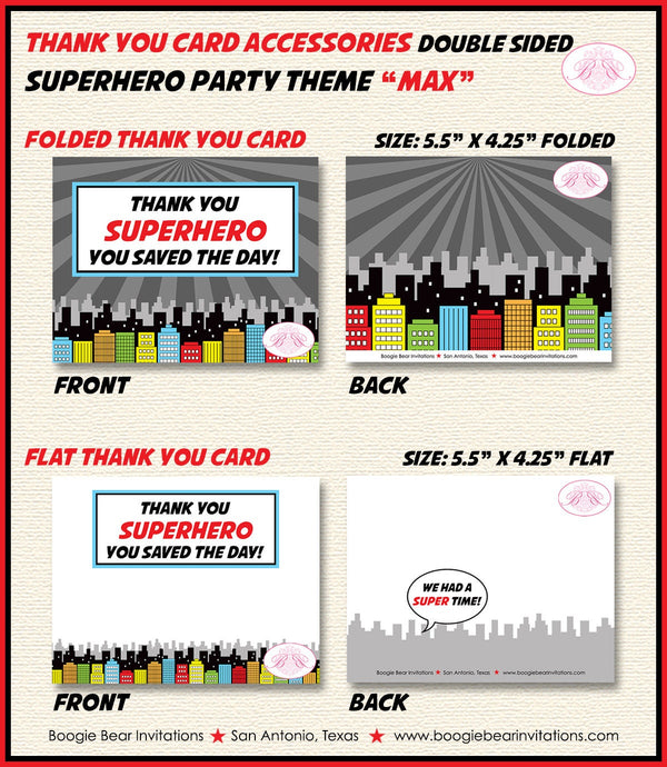 Superhero Birthday Party Thank You Card Boy Girl Super Hero 1st 2nd 3rd 4th 5th 6th 7th 8th 9th Boogie Bear Invitations Max Theme Printed