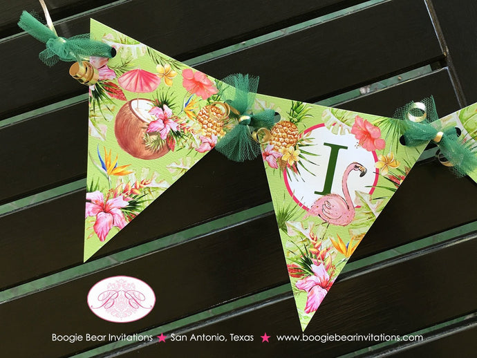 Tropical Paradise Pennant I am 1 Banner Birthday Party Highchair Flamingo Toucan Pink Gold Green 1st Boogie Bear Invitations Tallulah Theme