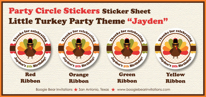 Little Turkey Party Circle Stickers Sheet Girl Boy Fall Thanksgiving Autumn 1st 2nd 3rd 4th 5th 6th 7th Boogie Bear Invitations Jayden Theme