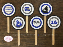 Load image into Gallery viewer, Blue Dirt Bike Birthday Party Cupcake Toppers Set Black Grey Boy 1st 2nd 3rd 4th 5th 6th 7th 8th 16th Boogie Bear Invitations Austin Theme