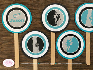 Rock Climbing Party Cupcake Toppers Birthday Blue Black Mountain 4th 5th 6th 7th 8th 9th 10th 11th 12th Boogie Bear Invitations Jason Theme