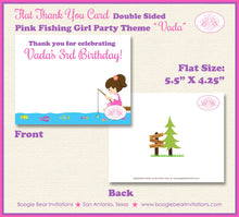 Load image into Gallery viewer, Fishing Girl Party Thank You Card Pink Birthday Lake River Dock Summer Swim 1st 2nd 3rd 4th 5th Boogie Bear Invitations Vada Theme Printed