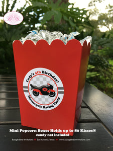 Red Motorcycle Party Popcorn Boxes Mini Food Buffet Birthday Boy Racing Black 1st 2nd 3rd 4th 5th 6th 7th Boogie Bear Invitations Cody Theme