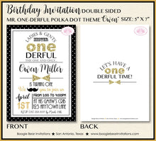 Load image into Gallery viewer, Mr. Wonderful Birthday Party Invitation Bow Tie Little Man Black Gold ONE 1st Boogie Bear Invitations Owen Theme Paperless Printable Printed
