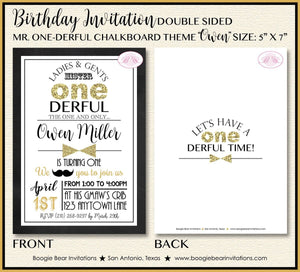 Mr. Wonderful Birthday Party Invitation Bow Tie Little Man Black Gold ONE 1st Boogie Bear Invitations Owen Theme Paperless Printable Printed