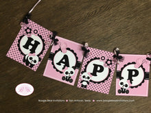 Load image into Gallery viewer, Pink Panda Bear Happy Birthday Banner Party White Black Polka Dot Girl 1st 2nd 3rd 4th 5th 6th 7th Boogie Bear Invitations Robina Theme