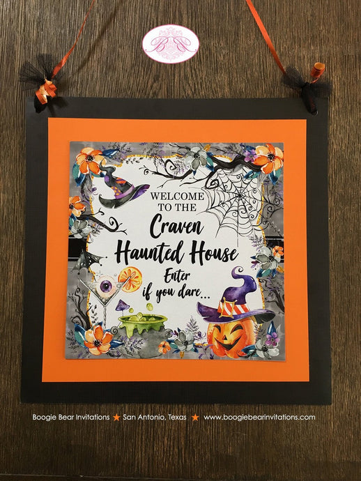 Halloween Witch Birthday Party Door Banner Haunted House Pumpkin Hat Cocktail Spiderweb Orange Black Boogie Bear Invitations Craven Theme