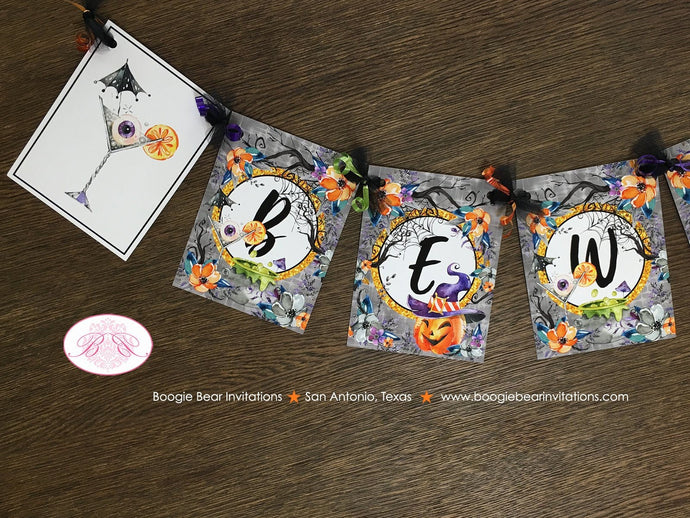 Halloween Hat Witch Party Name Banner Haunted House Pumpkin Hat Cocktail Spiderweb Orange Black Forest Boogie Bear Invitations Craven Theme