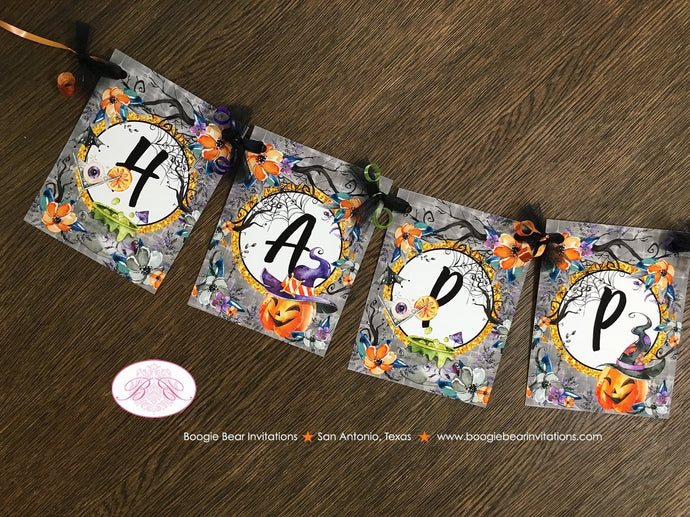 Witch Hat Party Happy Halloween Banner Haunted House Pumpkin Hat Cocktail Spiderweb Orange Black Forest Boogie Bear Invitations Craven Theme