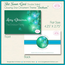 Load image into Gallery viewer, Christmas Winter Party Favor Card Tent Appetizer Place Food Green Glowing Star Ornament Ombré 1st 2nd Boogie Bear Invitations Erickson Theme