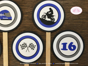 Blue Dirt Bike Birthday Party Cupcake Toppers Set Black Grey Boy 1st 2nd 3rd 4th 5th 6th 7th 8th 16th Boogie Bear Invitations Austin Theme