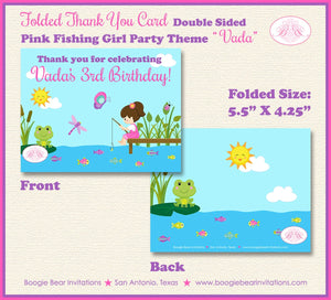 Fishing Girl Party Thank You Card Pink Birthday Lake River Dock Summer Swim 1st 2nd 3rd 4th 5th Boogie Bear Invitations Vada Theme Printed