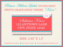 Load image into Gallery viewer, Modern Photo Graduation Announcement Party Red Aqua Blue 2019 2020 2021 2022 Boogie Bear Invitations Knox Theme Paperless Printable Printed
