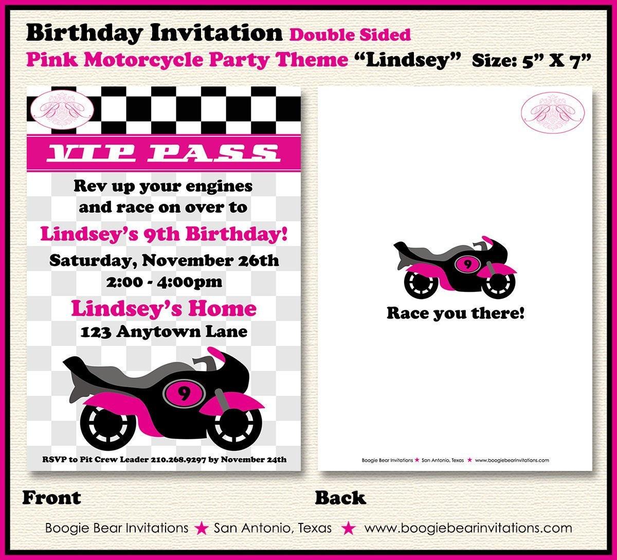Pink Motorcycle Party Invitation Birthday Girl 1st 2nd 3rd 4th 5th 6th 7th 8th 9th Boogie Bear Lindsey Theme Paperless Printable Printed