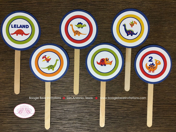 Little Dinosaur Party Cupcake Toppers Birthday Girl Boy Orange Navy Blue Red Green Yellow 1st 2nd 3rd Boogie Bear Invitations Leland Theme