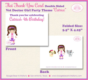 Vet Doctor Girl Birthday Party Thank You Card Hospital Animals Pink Purple 1st 2nd 3rd 4th 5th Boogie Bear Invitations Catrice Theme Printed