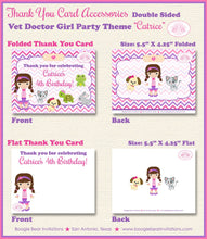 Load image into Gallery viewer, Vet Doctor Girl Birthday Party Thank You Card Hospital Animals Pink Purple 1st 2nd 3rd 4th 5th Boogie Bear Invitations Catrice Theme Printed