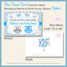 Load image into Gallery viewer, Woodland Birds Owls Baby Shower Favor Card Tent Appetizer Food Grey Gray Blue Boy Animals Forest Boogie Bear Invitations Robin Theme Printed