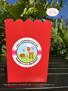Valentines Day Woodland Birthday Popcorn Boxes Mini Food Buffet Party Love Pink 1st 2nd 3rd 4th 5th 6th Boogie Bear Invitations Amelie Theme