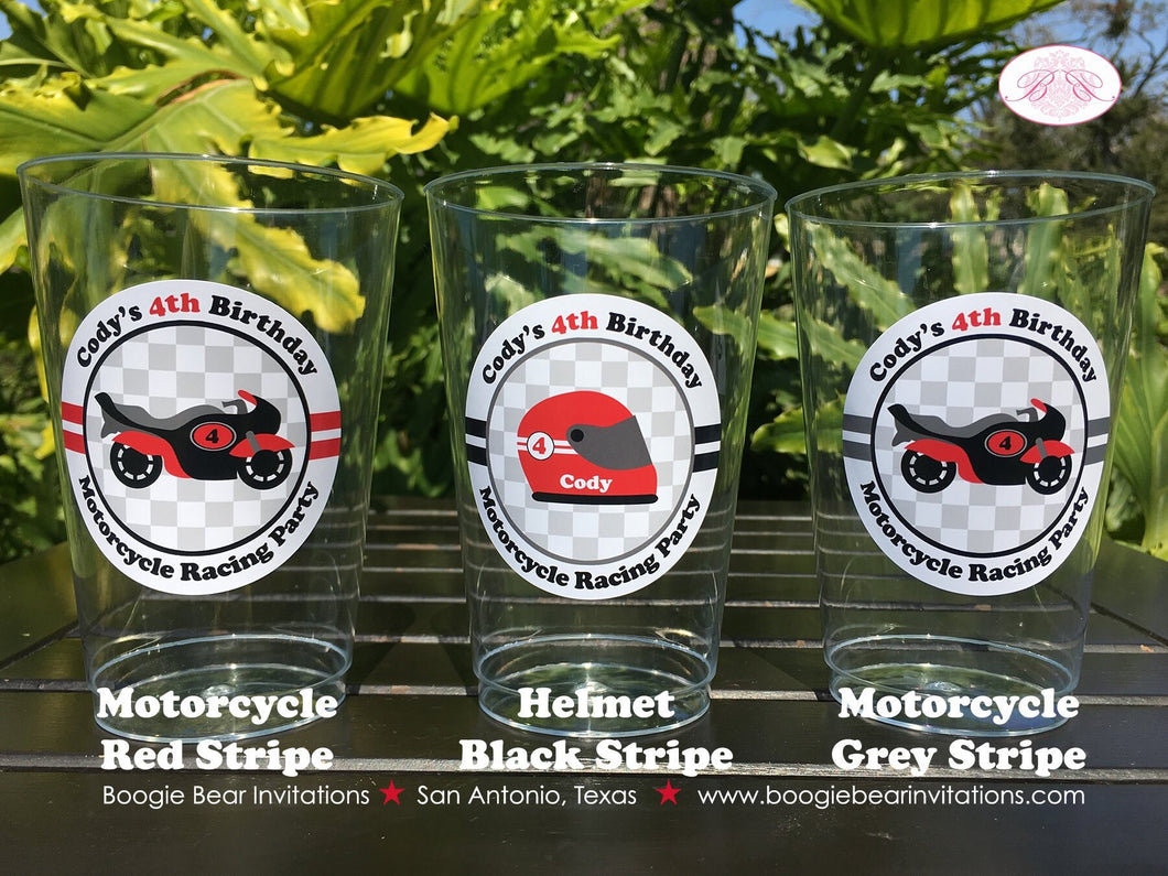 Red Motorcycle Birthday Party Beverage Cups Plastic Drink Boy Girl 1st 2nd 3rd 4th 5th 6th 7th 8th 9th Boogie Bear Invitations Cody Theme