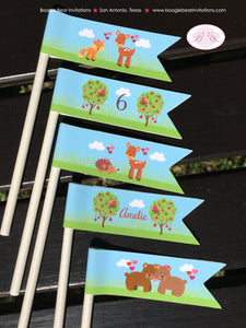 Valentines Day Woodland Pennant Cupcake Mini Sticks Birthday Party Paper Flags 1st 2nd 3rd 4th 5th 6th Boogie Bear Invitations Amelie Theme