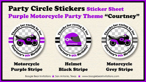 Purple Motorcycle Birthday Party Stickers Circle Sheet Round Girl 1st 2nd 3rd 4th 5th 6th 7th 8th 9th Boogie Bear Invitations Courtney Theme