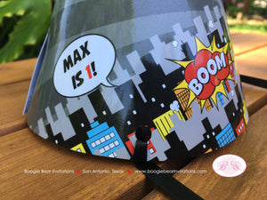 Superhero Birthday Party Hat Boy Girl Super Hero Comic Boom Wham Red Black Blue Yellow Silver 1st 2nd 3rd Boogie Bear Invitations Max Theme