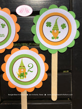 Load image into Gallery viewer, St. Patrick's Day Gnomes Party Cupcake Toppers Birthday Boy Girl Lucky Green Orange 1st 2nd 3rd 4th Boogie Bear Invitations Tristan Theme