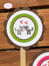 Load image into Gallery viewer, Valentines Day Woodland Party Cupcake Toppers Birthday Love Forest Animals Pink 1st 2nd 3rd 4th 5th 6th Boogie Bear Invitations Amelie Theme