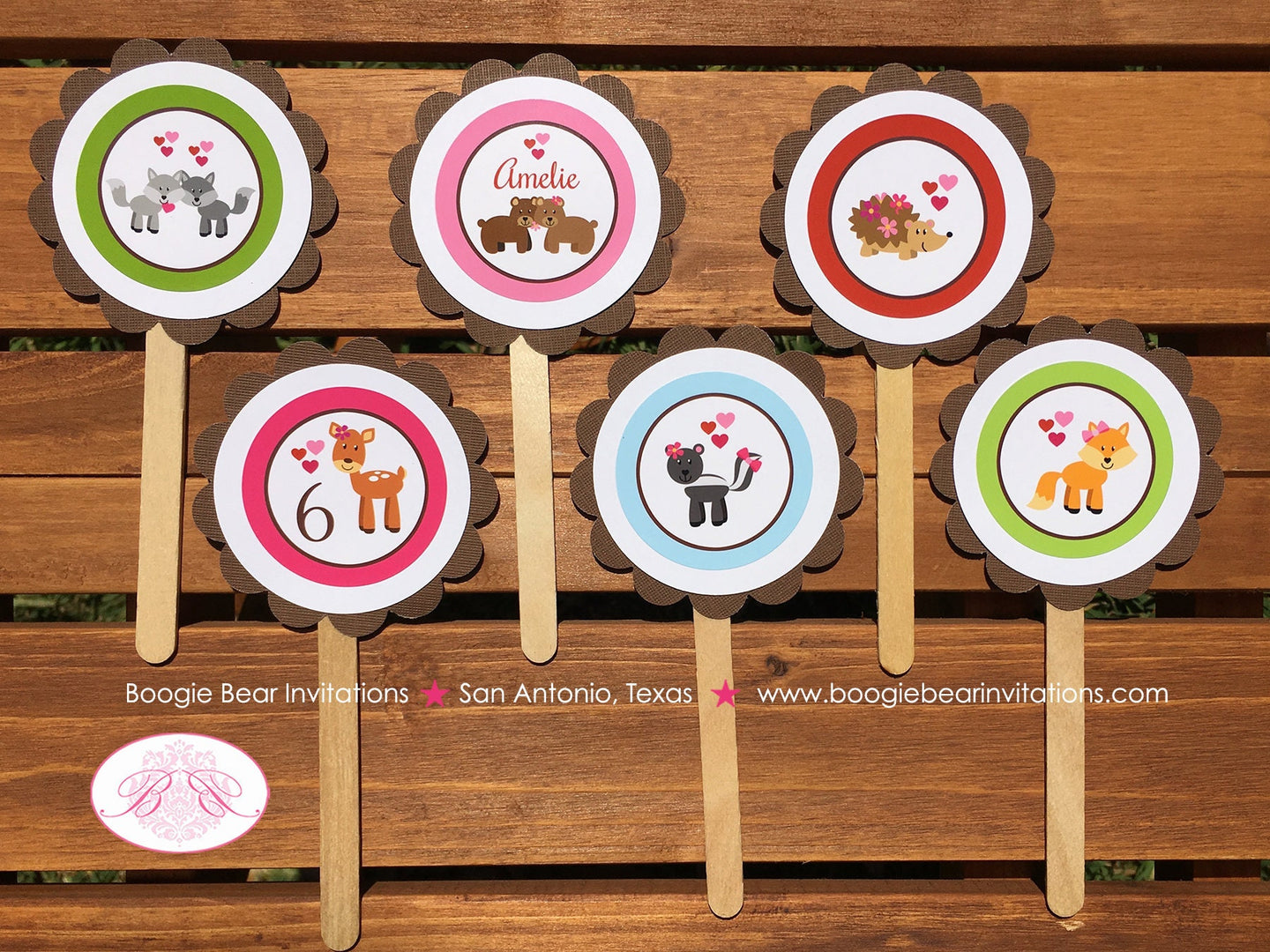 Valentines Day Woodland Party Cupcake Toppers Birthday Love Forest Animals Pink 1st 2nd 3rd 4th 5th 6th Boogie Bear Invitations Amelie Theme
