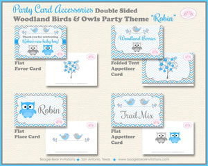 Woodland Birds Owls Baby Shower Favor Card Tent Appetizer Food Grey Gray Blue Boy Animals Forest Boogie Bear Invitations Robin Theme Printed
