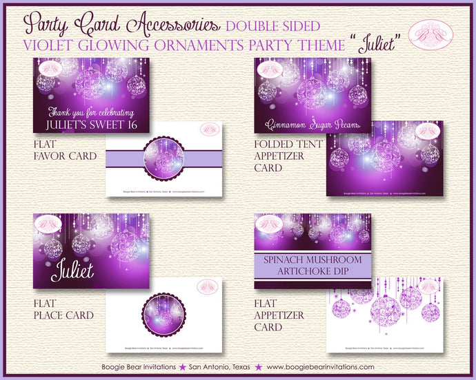 Purple Glowing Ornament Birthday Party Favor Card Place Food Appetizer Girl Sweet 16 1st 21st 30th 40th Boogie Bear Invitations Juliet Theme
