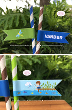 Load image into Gallery viewer, Fishing Boy Birthday Party Paper Pennant Straws Beverage Fish Blue Green Brown 1st 2nd 3rd 4th 5th 6th Boogie Bear Invitations Vander Theme