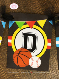 Sports Happy Birthday Party Banner Boy Girl Chalkboard Red Yellow Green Blue 1st 2nd 3rd 4th 5th 6th 7th Boogie Bear Invitations Alfie Theme
