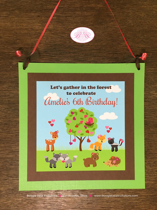 Valentine's Day Birthday Party Door Banner Woodland Animals Forest Creatures 1st 2nd 3rd 4th 5th 6th Boogie Bear Invitations Amelie Theme