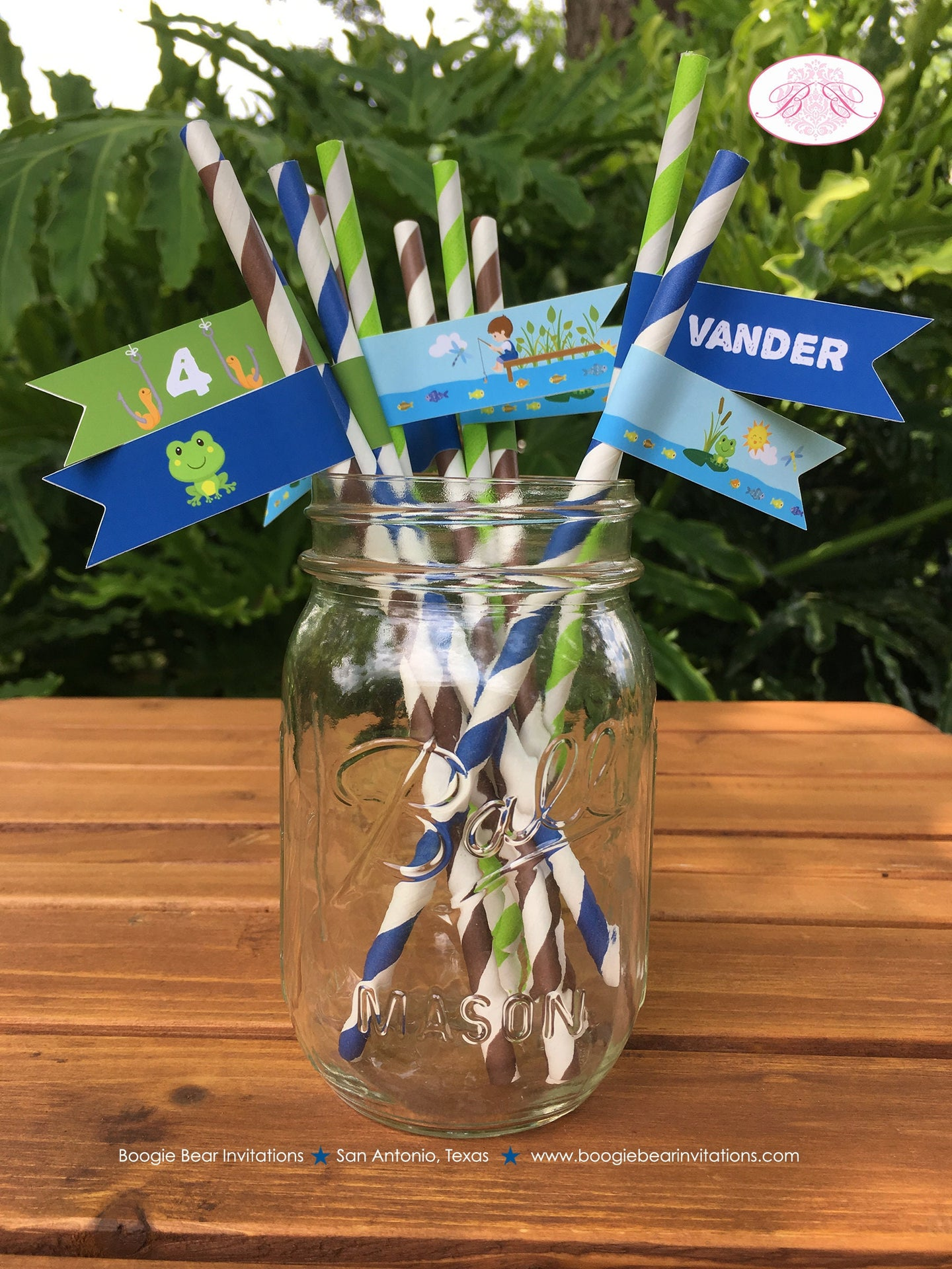 Fishing Boy Birthday Party Paper Pennant Straws Beverage Fish Blue Green Brown 1st 2nd 3rd 4th 5th 6th Boogie Bear Invitations Vander Theme