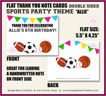 Load image into Gallery viewer, Sports Birthday Party Thank You Card Pink Girl Chalkboard School 1st 2nd 3rd 4th 5th 6th 7th 8th Boogie Bear Invitations Allie Theme Printed