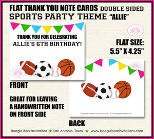 Sports Birthday Party Thank You Card Pink Girl Chalkboard School 1st 2nd 3rd 4th 5th 6th 7th 8th Boogie Bear Invitations Allie Theme Printed