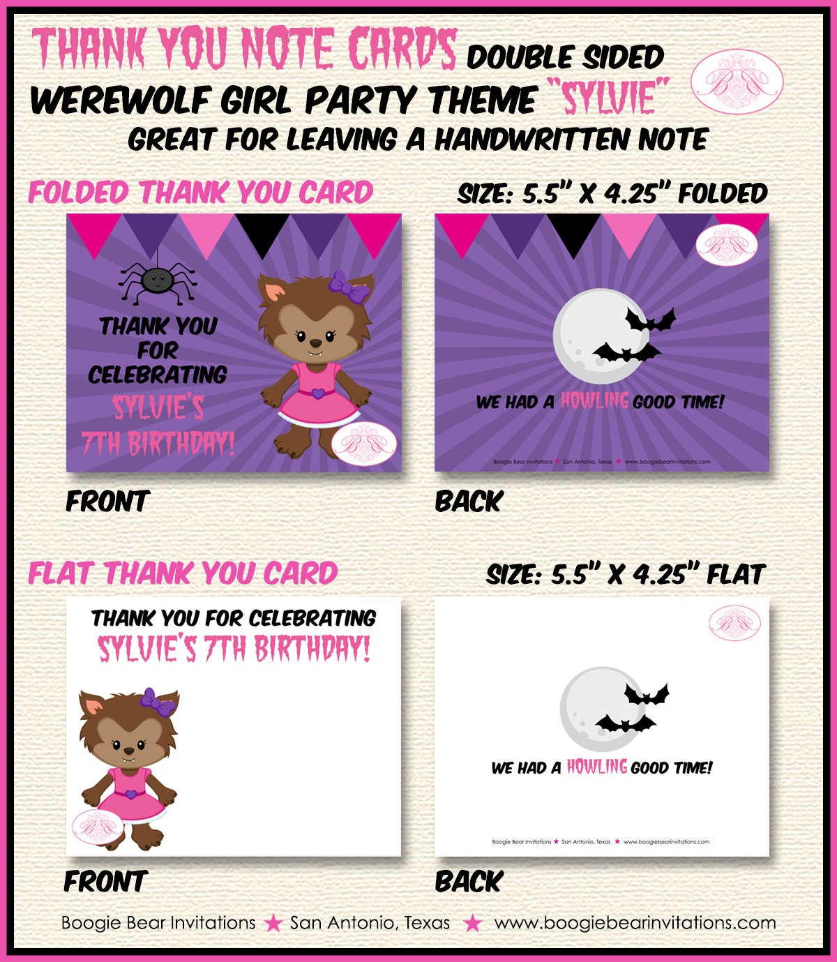 Werewolf Girl Party Thank You Card Note Birthday Full Moon 1st 2nd 3rd 4th 5th 6th 7th 8th 9th Boogie Bear Invitations Sylvie Theme Printed