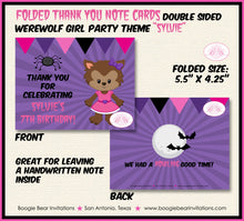 Load image into Gallery viewer, Werewolf Girl Party Thank You Card Note Birthday Full Moon 1st 2nd 3rd 4th 5th 6th 7th 8th 9th Boogie Bear Invitations Sylvie Theme Printed