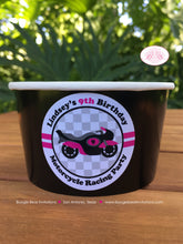 Load image into Gallery viewer, Motorcycle Birthday Party Treat Cups Candy Buffet Paper Pink Black Racing Girl 1st 2nd 3rd 4th 5th 6th Boogie Bear Invitations Lindsey Theme
