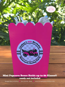 Pink Motorcycle Party Popcorn Boxes Mini Food Buffet Birthday Girl 1st 2nd 3rd 4th 5th 6th 7th 8th 9th Boogie Bear Invitations Lindsey Theme