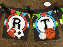 Load image into Gallery viewer, Sports Happy Birthday Party Banner Boy Girl Chalkboard Red Yellow Green Blue 1st 2nd 3rd 4th 5th 6th 7th Boogie Bear Invitations Alfie Theme